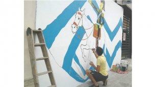 Concordiense pintó un Mural en homenaje a San Martín