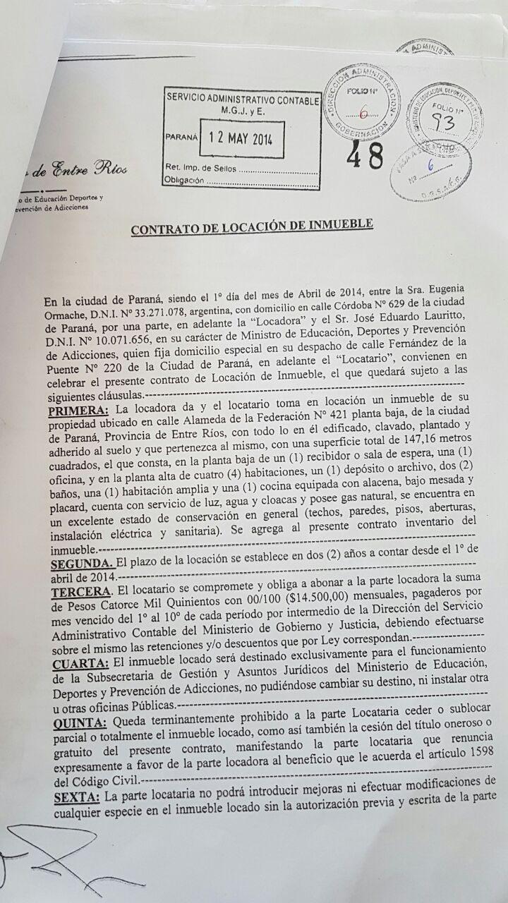 El contrato entre Ormache y Lauritto se celebró el 1 de abril de 2014.