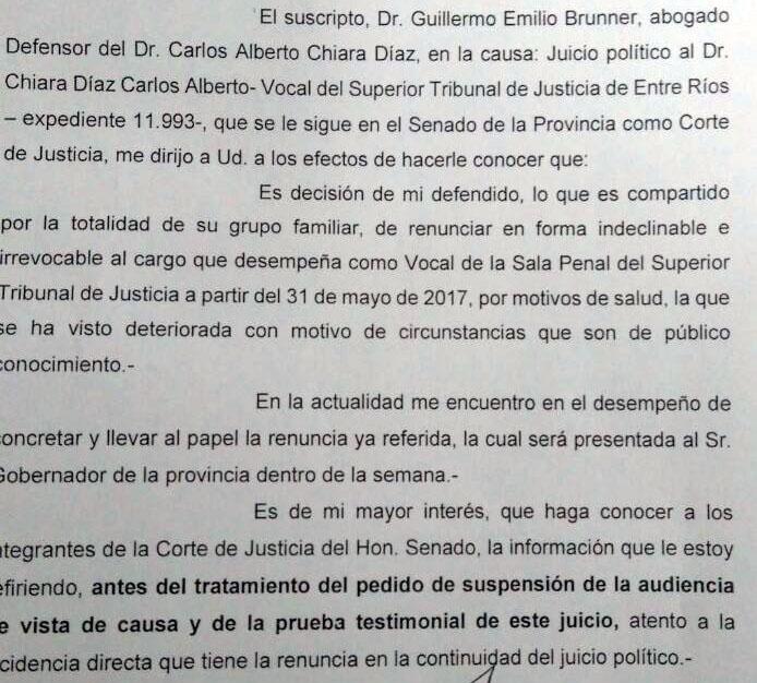 Un fragmento de la carta del defensor de Chiara Díaz