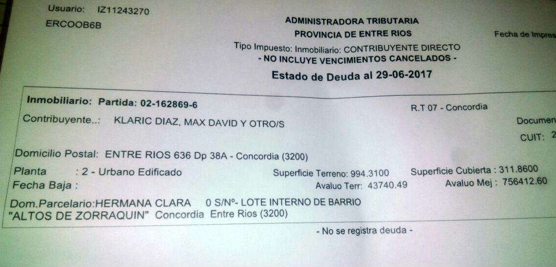 El formulario fue remitido por la Municipalidad, acompañando el descargo de Klaric.