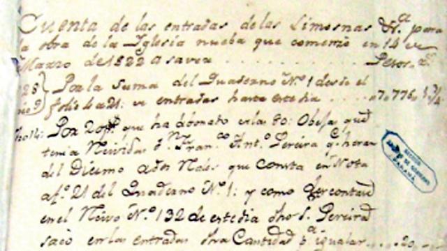 El registro de las limosnas para construir la nueva iglesia de San Miguel