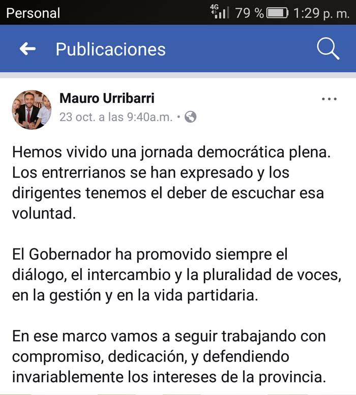 El posteo de Mauro Urribarri, 48 horas antes de su renuncia