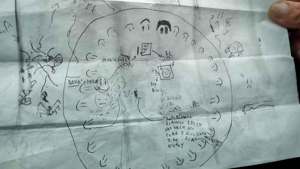 El dibujo que Narváez atribuye a su sobrino David Acuña