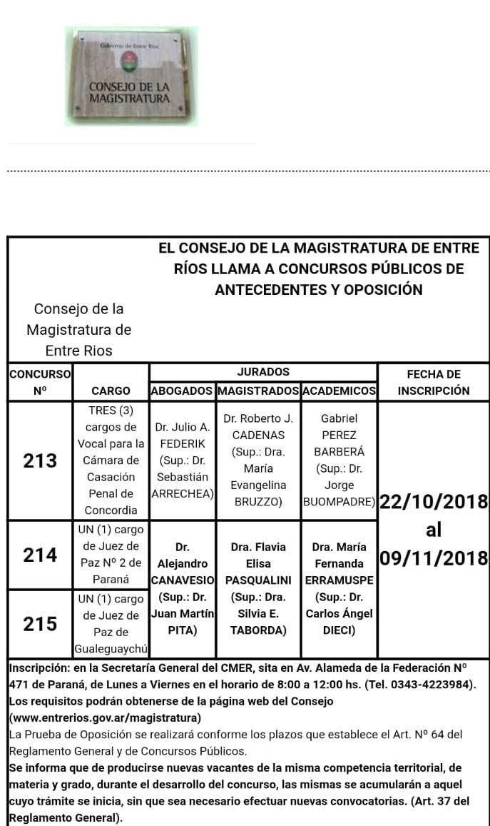 En Paraná y Gualeguaychú convocaron a concurso para Juez de Paz este jueves