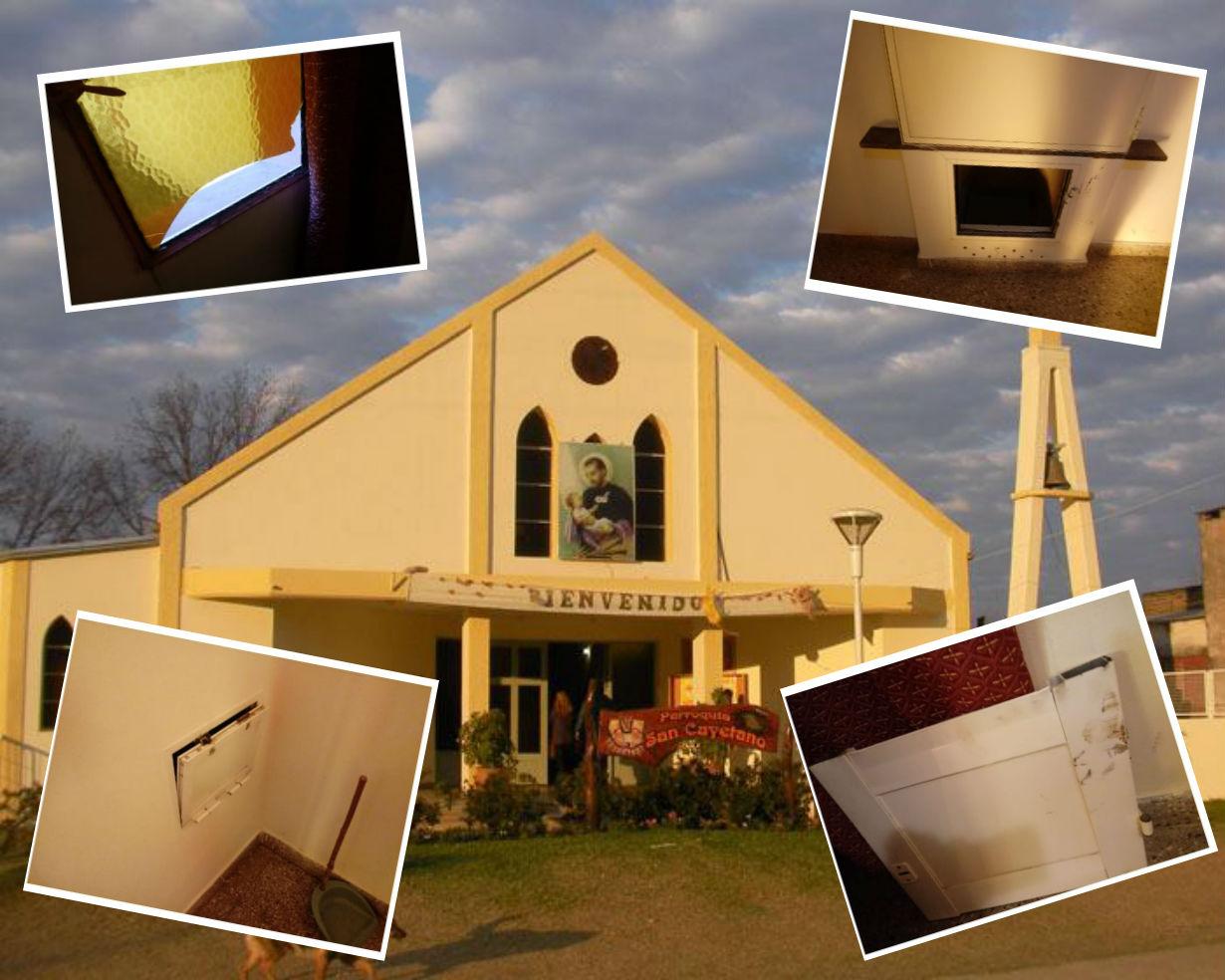 El vidrio roto y las alcancías que fueron robadas, de la parroquia de Villa Zorraquín.