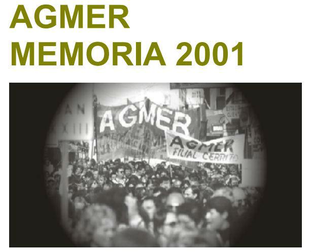 Esta es la carátula de la Memoria hecha por el gremio docente para el 2001.