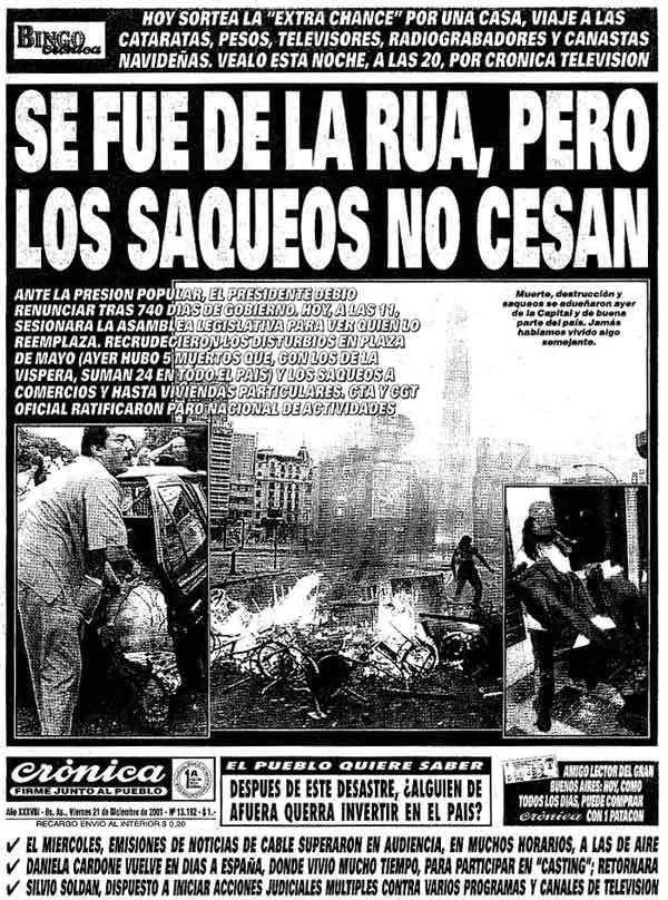 El fatídico diciembre de 2001, contado por uno de los diarios porteños.