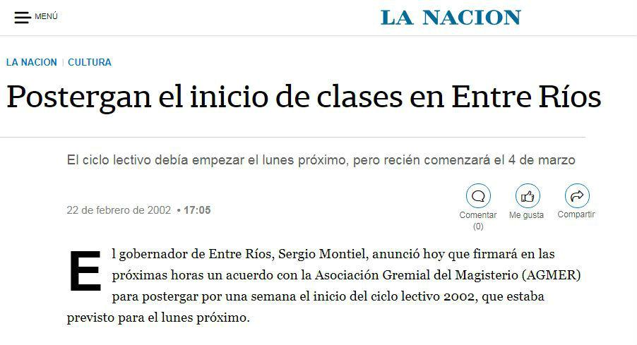 Así contaba diario La Nación cómo se postergaba el inicio de clases en la provincia.