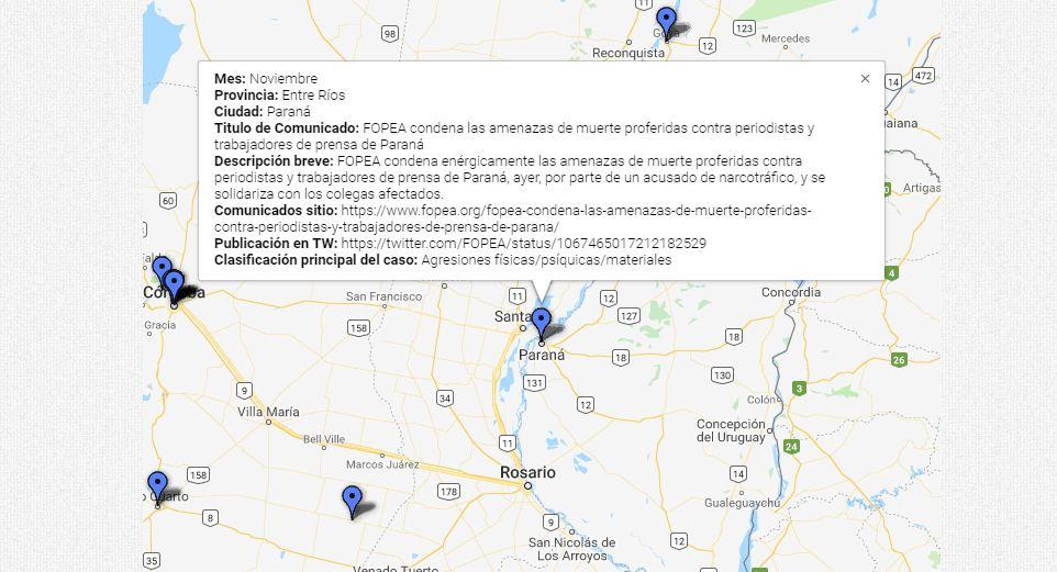 Ahí está el punto indicando el caso entrerriano que los monitores de FOPEA registraron el año pasado.