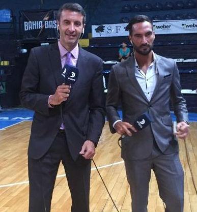Pablo Viola junto a Carlos Altamirano, en una transmisión desde Bahía Blanca.