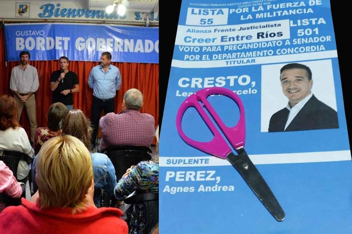 A la izquierda, Enrique Cresto pidiendo no cortar boleta. A la derecha, la tijera que reparte su primo y secretario municipal