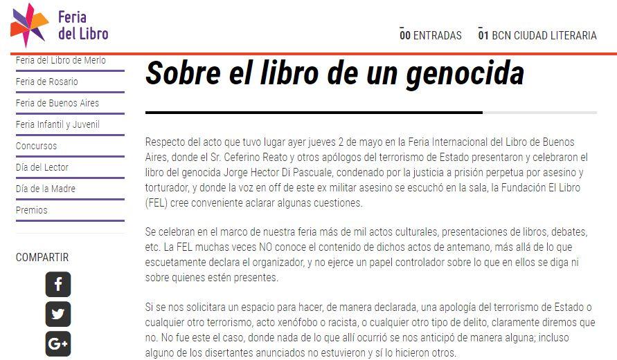 Esta es una captura de la publicación que la organización de la Feria volcó en su página web.