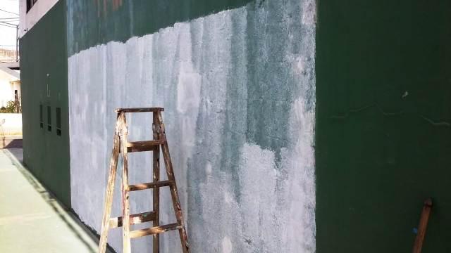 El mural que pinta Martín Rojas, sobre una de las paredes del