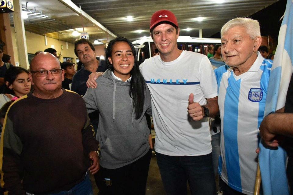 El intendente participó del recibimiento a la futbolista.