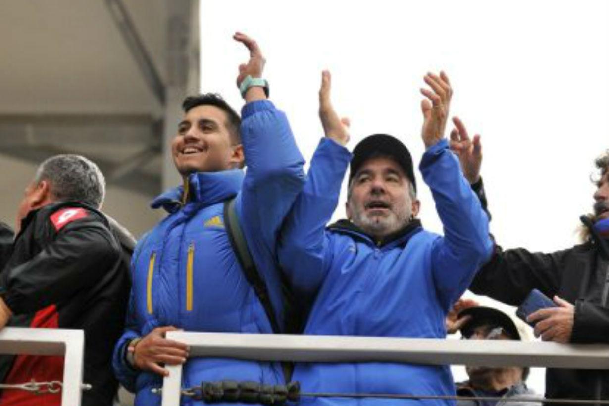 Marcos alentó a Gian desde la tribuna (Crédito: Clarín)