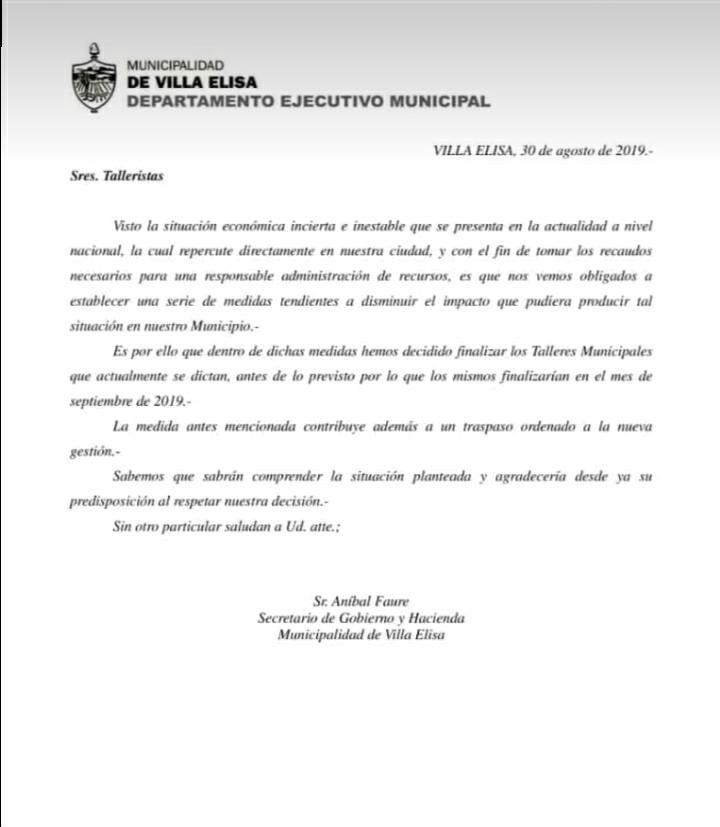 La comunicación, fechada el 30 de agosto, que se había enviado a los talleristas.