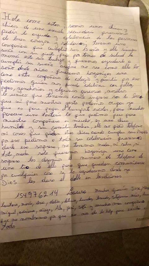 La carta que hicieron los jóvenes