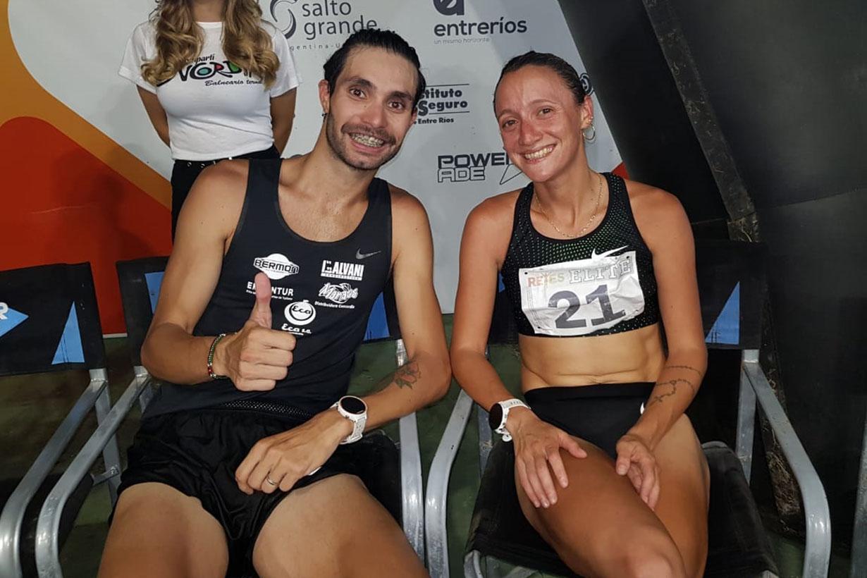 Federico Bruno junto a Florencia Borelli, la ganadora de los 10k femeninos