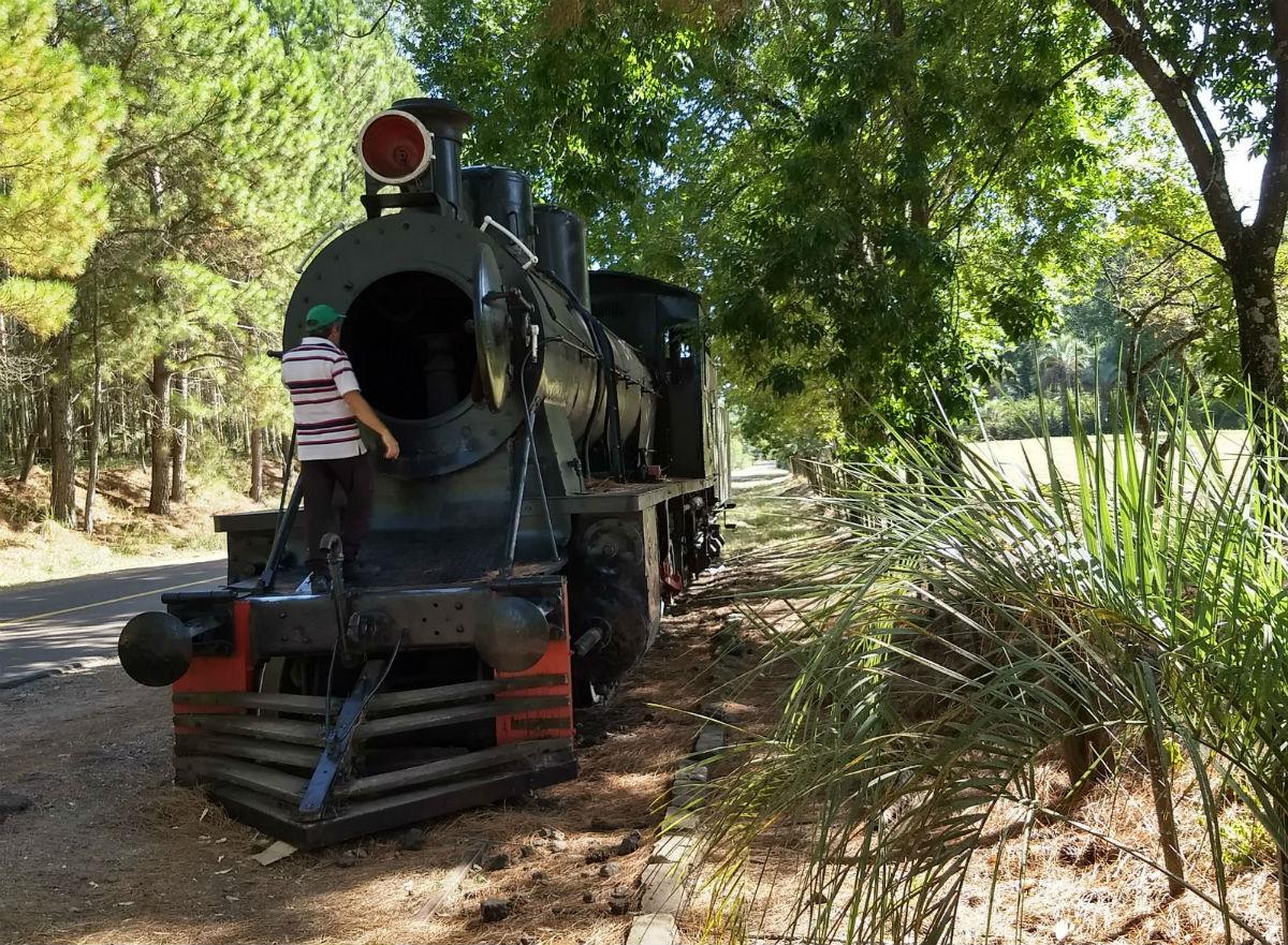 La máquina es un símbolo del paso del tren por la Mesopotamia argentina.