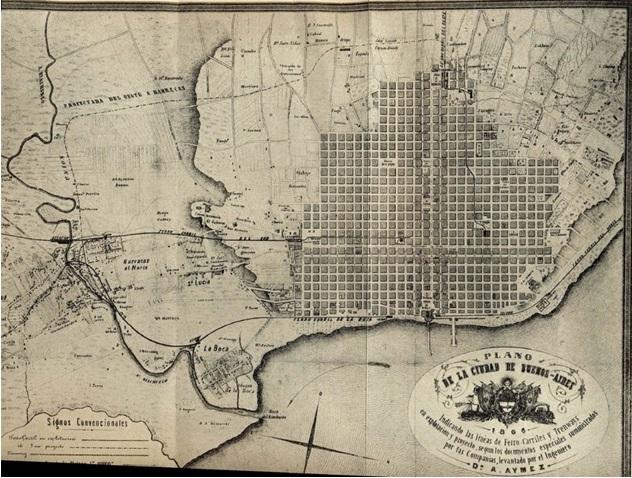 Plano de Buenos Aires, 1886. En 1874 se construiría la primera cloaca máxima.