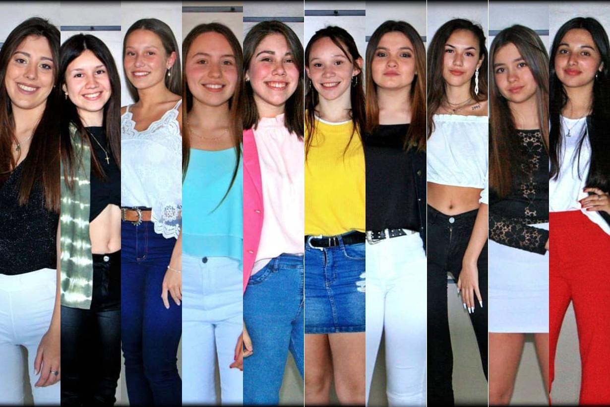 Florencia, Alessia, Camila, Maia, Mercedes, Celeste, María, Nerina, Candela y Abril, candidatas para este año.