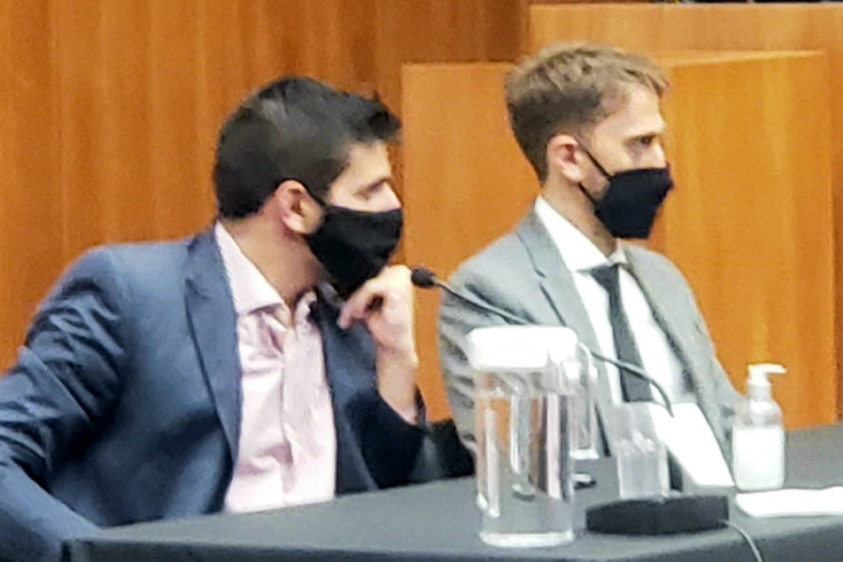 Los fiscales Franco Bongiovanni y Gonzalo Badano, presentes en la sala.