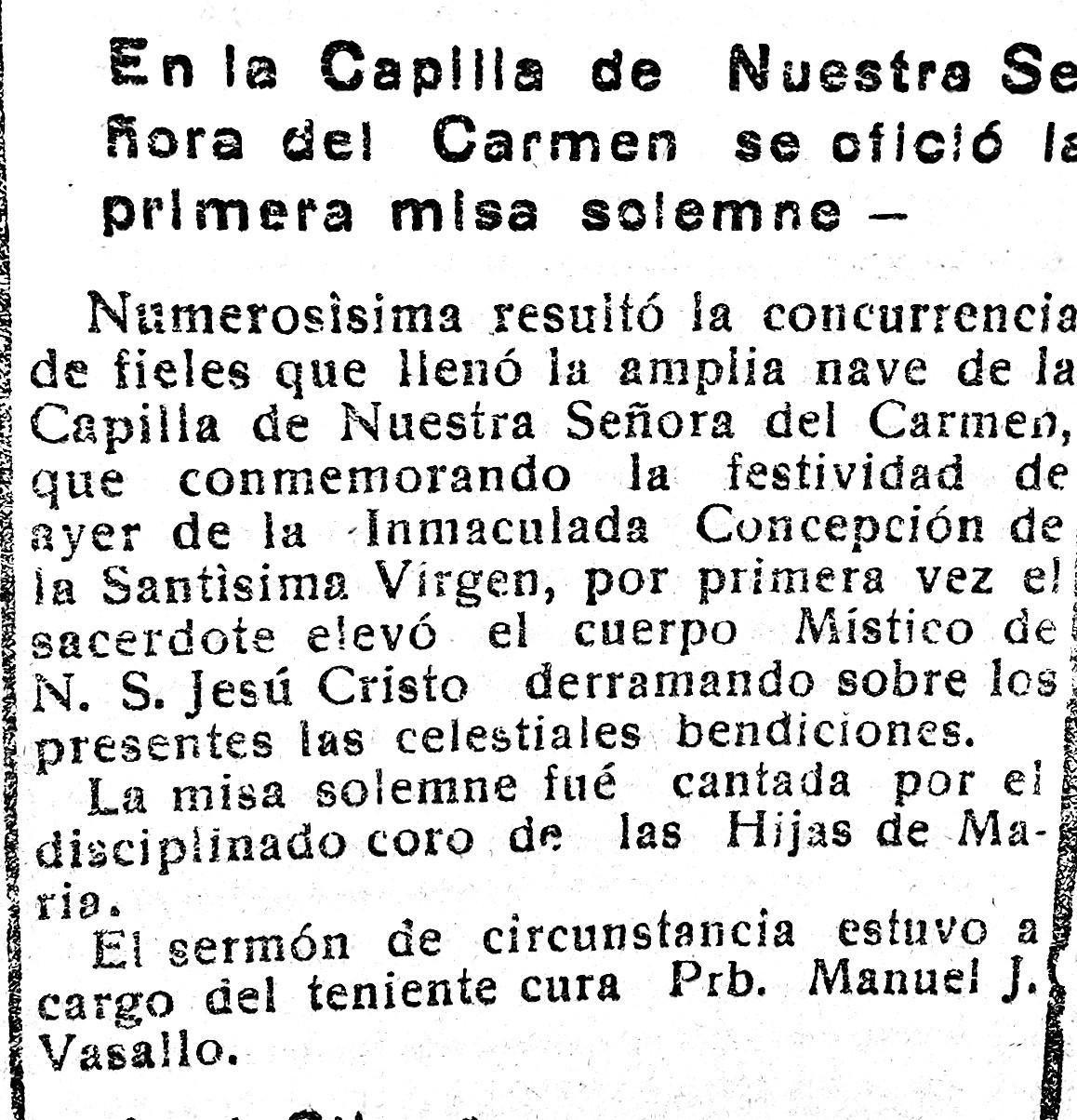 Primera misa, diciembre de 1937
