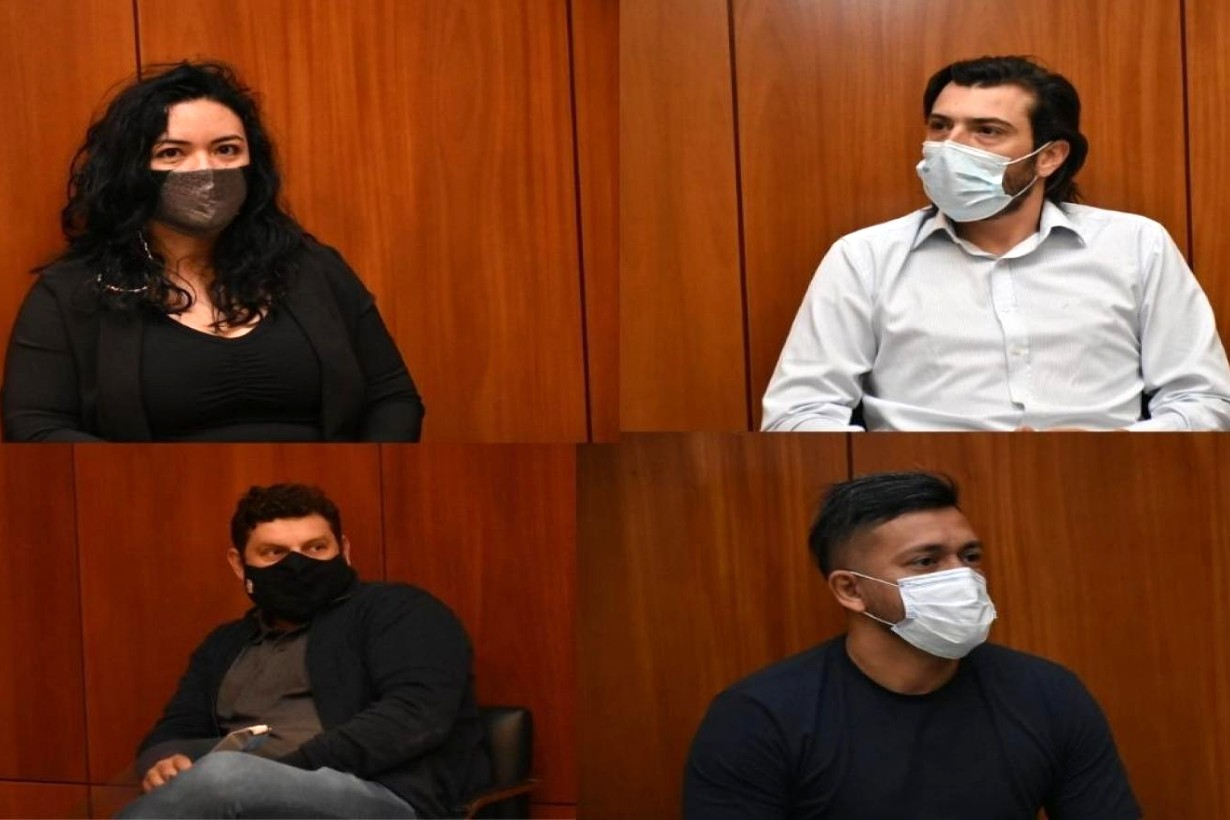 Luciana Almada y Maximiliano Sena (arriba). Emiliano Giacopuzzi y Alejandro Almada (abajo). Integrantes de las firmas Tep y Next.