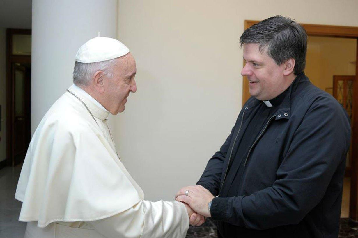 Muchiutti recibió la bendición de Francisco.