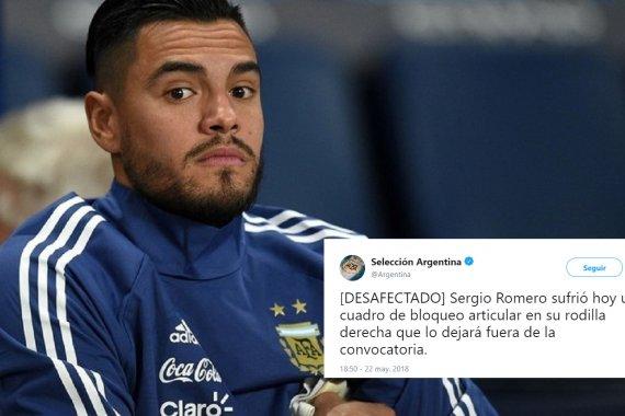 Romero se lesionó y se queda afuera del Mundial