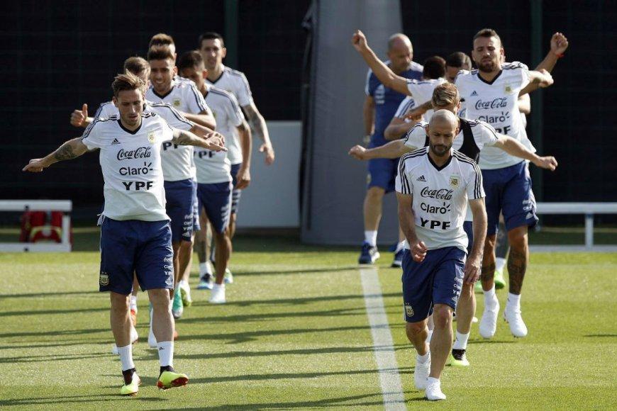 La selección, en el predio del Barcelona.