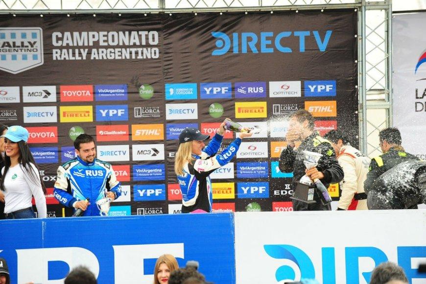 Así festejó la entrerriana su podio en La Rioja.