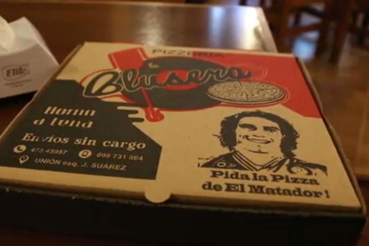 La pizza del goleador, con caja propia.