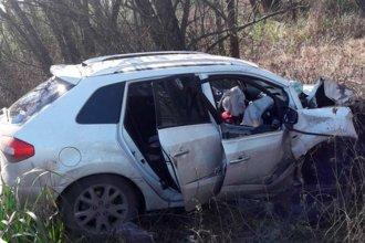 Manejaba en ruta, perdió el control del auto y chocó contra un árbol