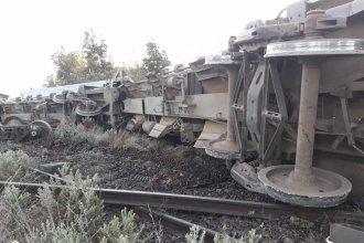 Por el mal estado de la vía, un tren volcó y desparramó su carga de piedras