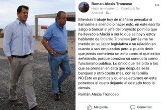 El hijo del diputado Troncoso, salió a respaldarlo con un duro mensaje en facebook