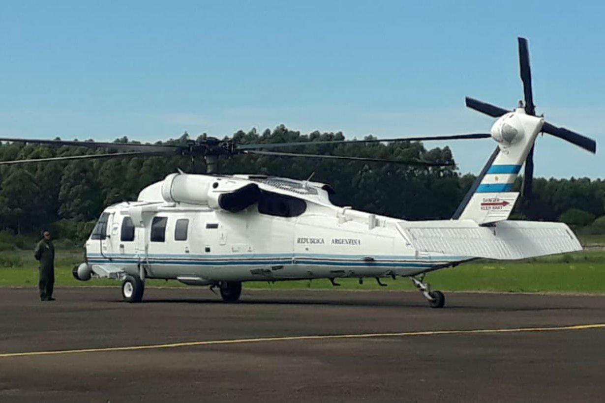 El helicóptero, esta mañana en Concordia.