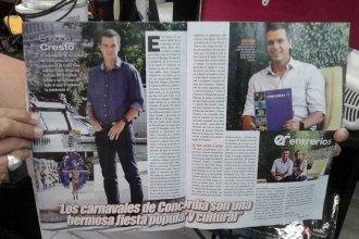 Cresto promocionó Concordia en una conocida revista de la farándula
