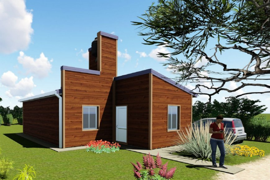 Modelo de viviendas construidas con madera.