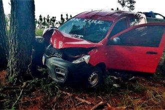 Una brusca maniobra en la ruta provocó que impactara de frente contra un árbol