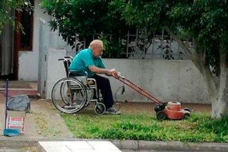 """Es viral: """"Cuánto por aprender"""", la imagen de un entrerriano cortando pasto en silla de ruedas"""