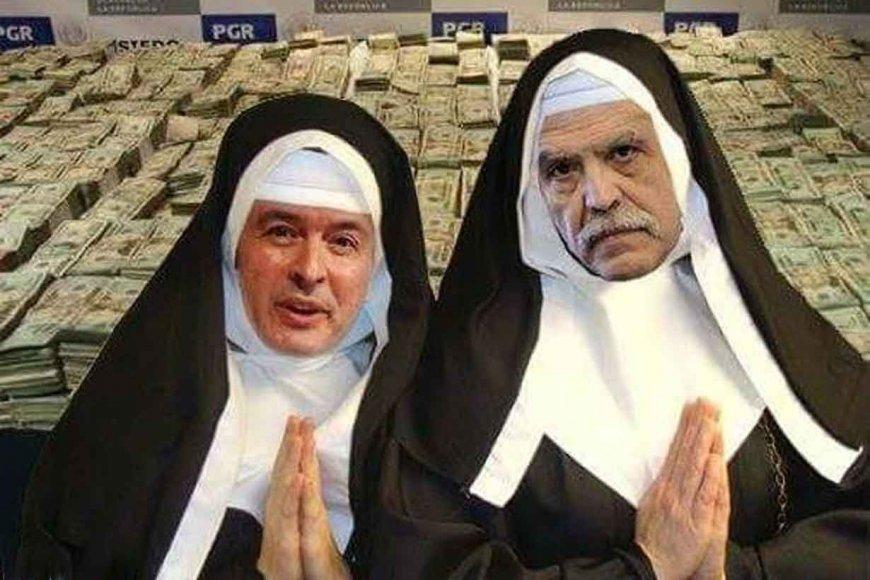 El meme de López y De Vido como monjas