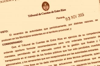 El Tribunal de Cuentas recuerda las pautas que rigen ante el recambio de autoridades en la administración pública
