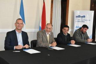 Rectores de UNER, UADER, UTN y UCA firmaron un convenio para promover el deporte universitario