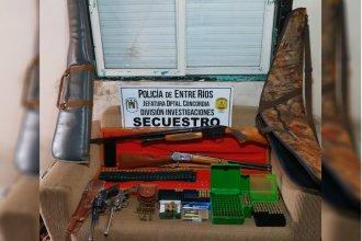 Encontraron gran cantidad de armas y municiones y detuvieron a un joven de Concordia
