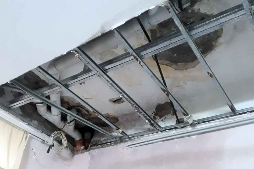 El techo de una de las salas de Salud Mental
