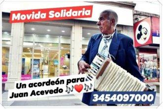 Piden colaboración para que un artista callejero pueda cambiar su acordeón