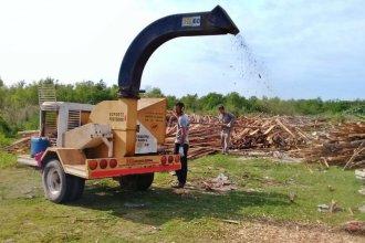 Pusieron en marcha una chipeadora para reducir la madera que llega a un basural de Colón