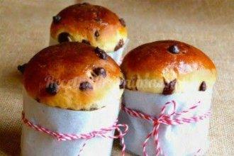 Pan dulce con chocolate y dulce de leche