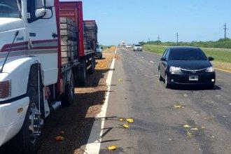 El paso de un camión dejó huellas de citrus marcadas en la autovía